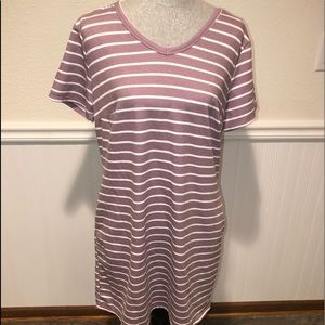 Rose colored striped dress